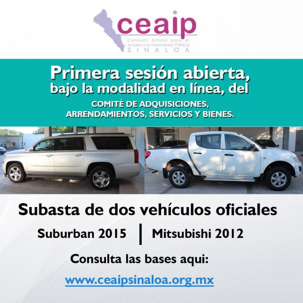 Subasta la CEAIP camioneta suburban y una pick up oficiales