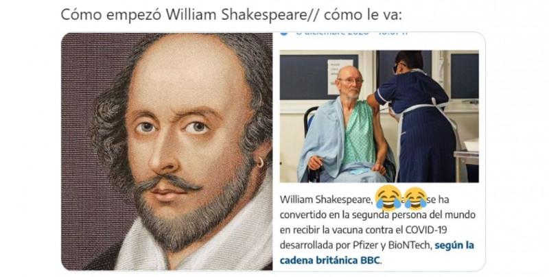 William Shakespeare fue la segunda persona vacunada contra Covid-19 en el mundo