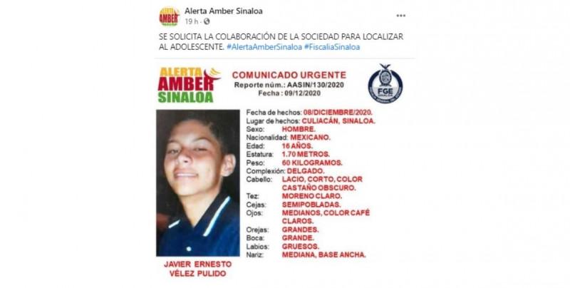 Alerta Amber Sinaloa: se busca a Javier Ernesto de 16 años, a quien se le vio por última vez el martes