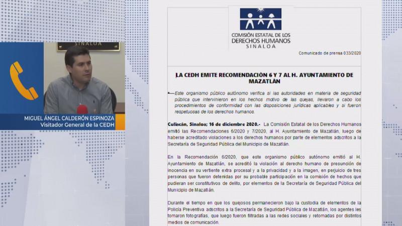 CEDH emite dos recomendaciones al ayuntamiento de Mazatlán