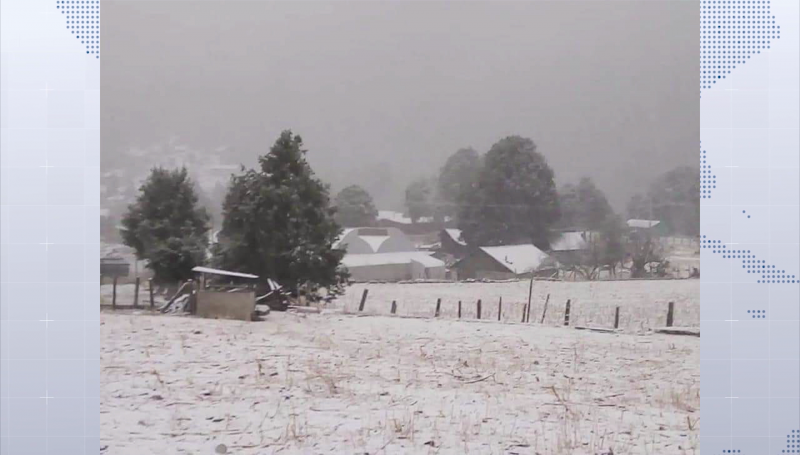 Reportan caída de nieve en sierra de Durango