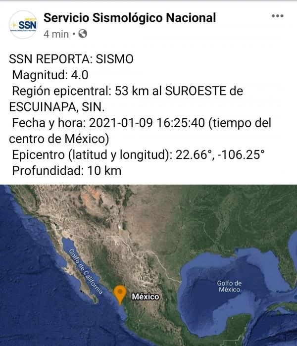 Temblor en el sur de Sinaloa