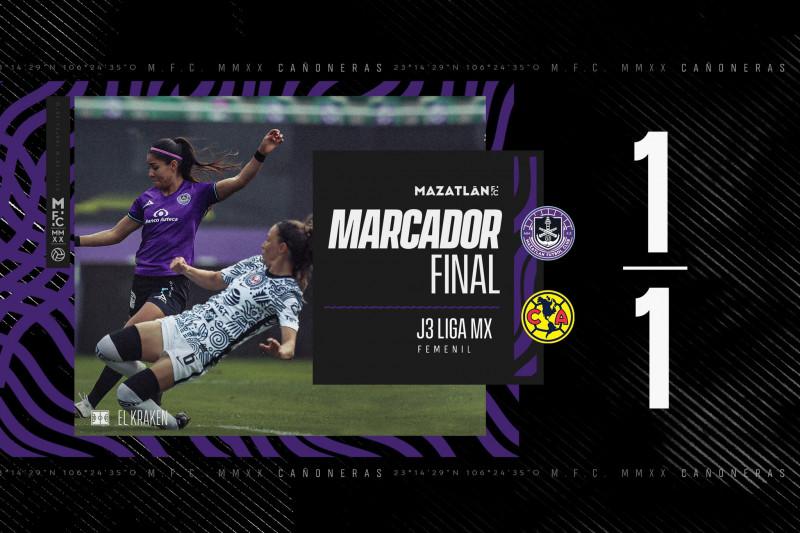 Mazatlan FC Femenil empata ante America con sabor a derrota