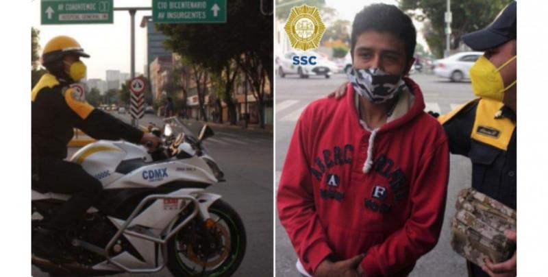 Hombre pierde mochila con 30 mil pesos para comprar oxígeno para su esposa y un policía se los devuelve
