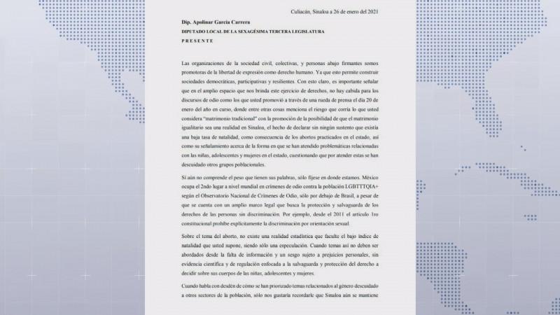 Organismos sociales piden respeto a Apolinar García