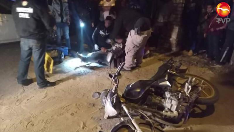 Se lesiona pareja escuinapense a bordo de motocicleta