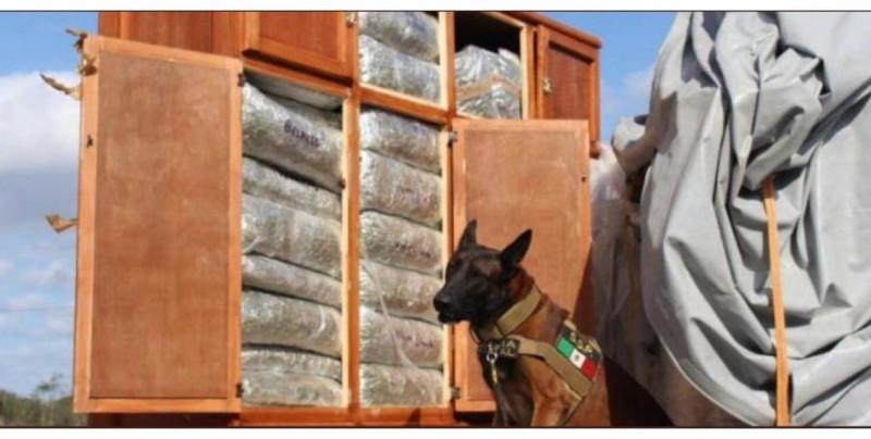 Detienen a elementos de la Guardia Nacional por  llevar dos roperos con 450 kg de marihuana