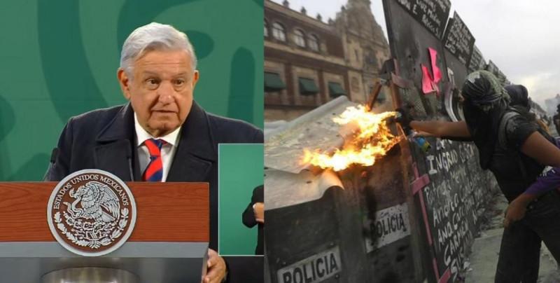 """81 heridas en manifestaciones del Día de la Mujer: """"No se cayó en la trampa de la violencia"""", afirma AMLO"""
