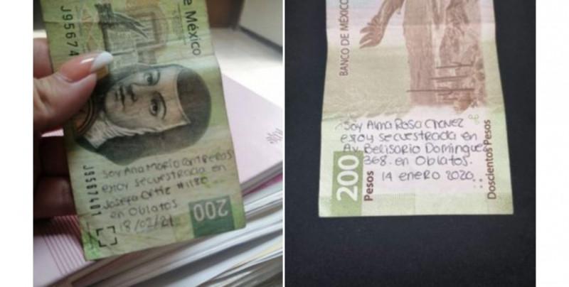¡De terror! Circulan dos billetes con presuntos mensajes de auxilio por mujeres secuestradas