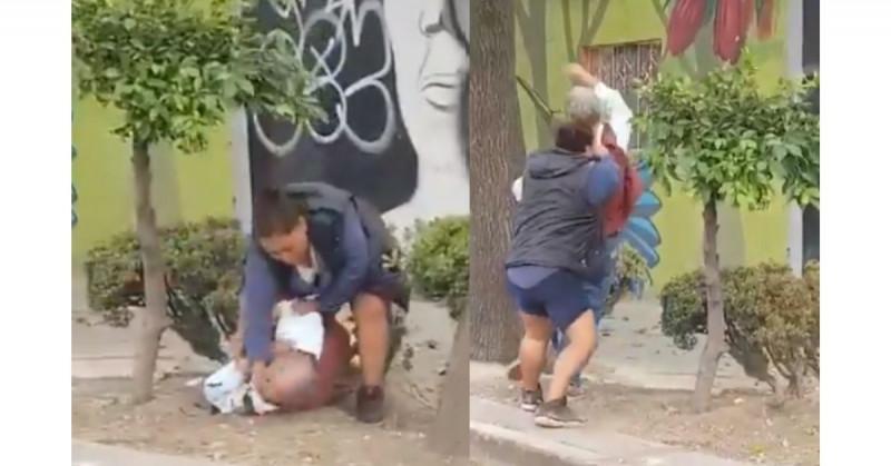FGJ abre carpeta contra mujer que fue grabada golpeando a anciano en plena calle