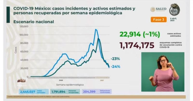 Se estiman 2 millones 445 mil 027 casos acumulados de Covid-19 y 204 mil 399 fallecimientos
