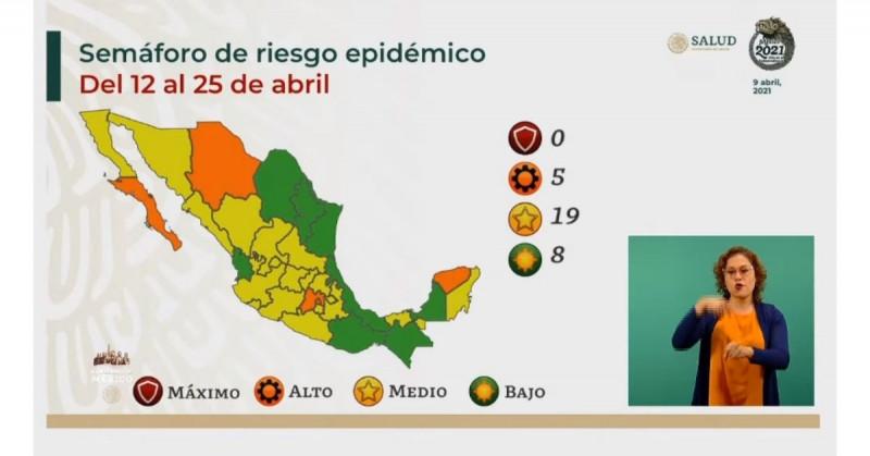 Sinaloa y Sonora estarán en amarillo en el Semáforo de riesgo epidémico nacional durante la siguiente quincena