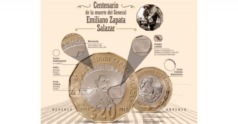 Este lunes entró en circulación la nueva moneda de 20 pesos con la imagen de Emiliano Zapata