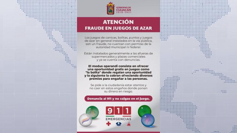 Alertan por fraude en juegos de azar en Culiacán