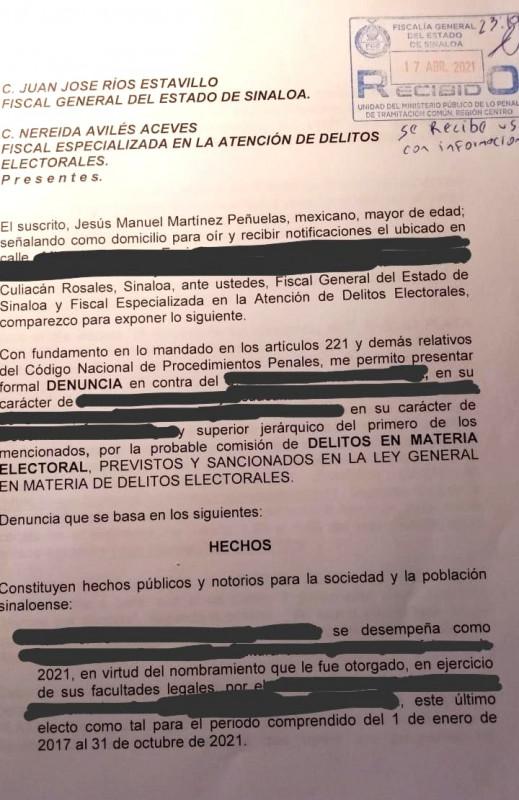 Denuncia Morena-PAS ante FGE y FEPADE a Evelio Plata, secretario de Pesca estatal