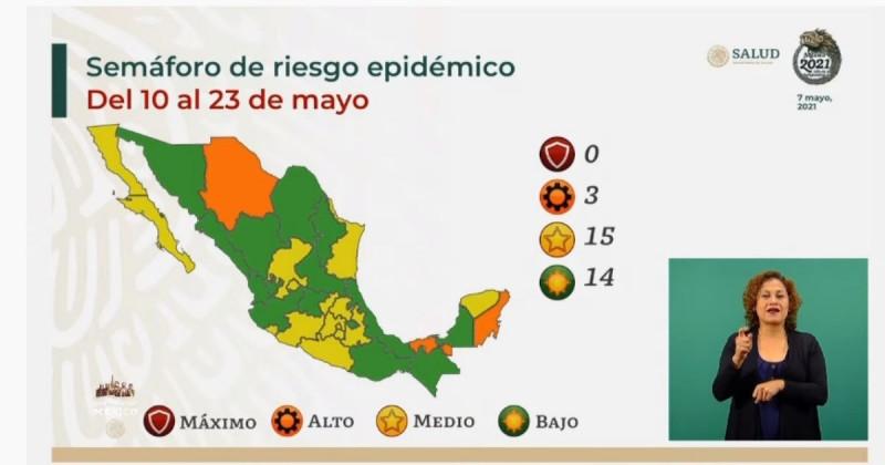 Sonora y Sinaloa pasan a color verde en el Semáforo de Riesgo Epidemiológico Nacional