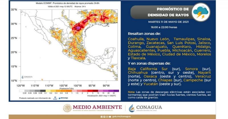 Descargas eléctricas para Sinaloa y Sonora entre 16:00 y 22:00 horas de este martes, pronostica CONAGUA