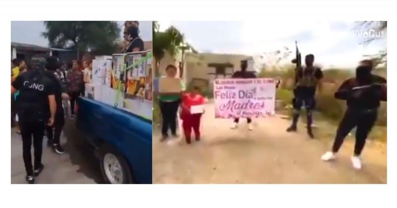 Sicarios armados del CJNG entregan electrodomésticos por el Día de las Madres y dividen las redes (video)