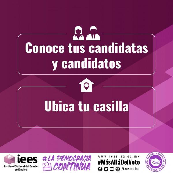 """""""Conoce a tus candidatas y candidatos; Ubica tu casilla"""" , plataforma del IEES"""