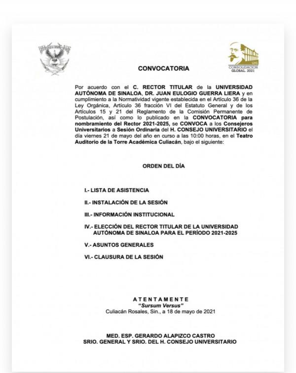 Publican convocatoria para la elección a Rector de la UAS