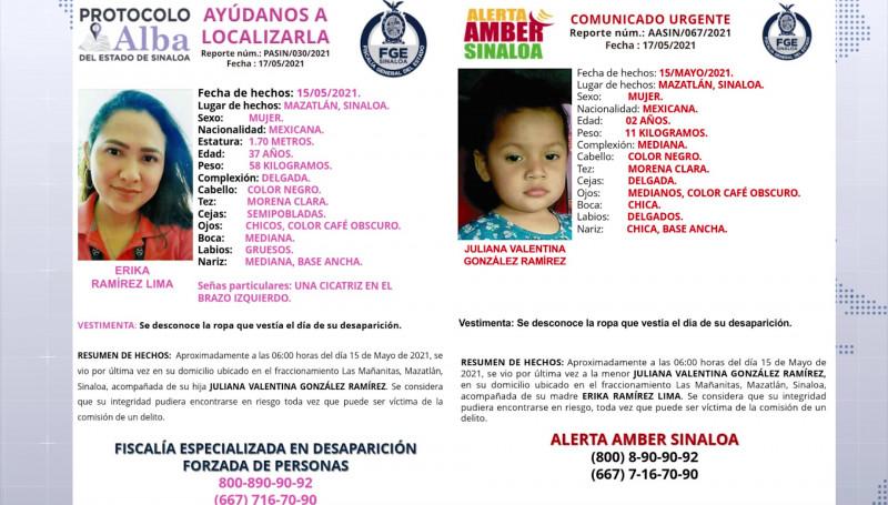 Emiten alertas de búsqueda por desaparición de madre e hija en Mazatlán