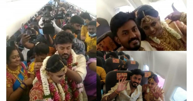 Pareja de la India se casa en pleno vuelo y les abren carpeta de investigación