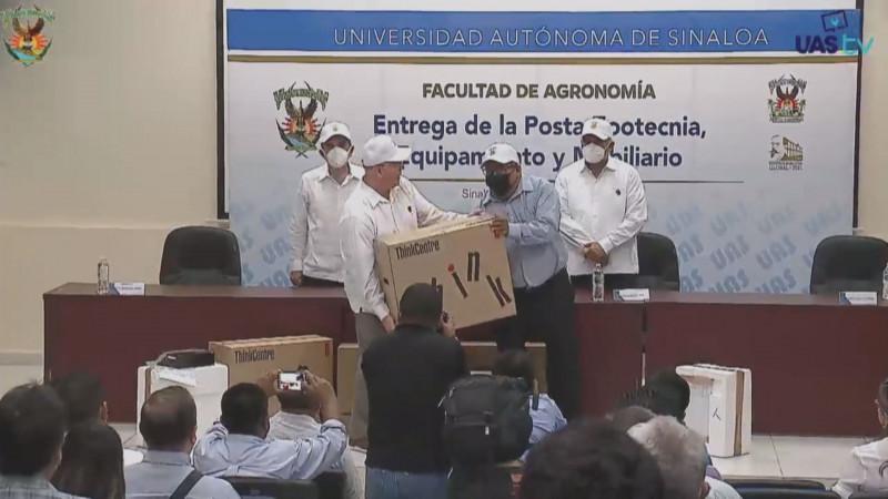 Entrega Rector de la UAS obras y equipo a la Facultad de Agronomía