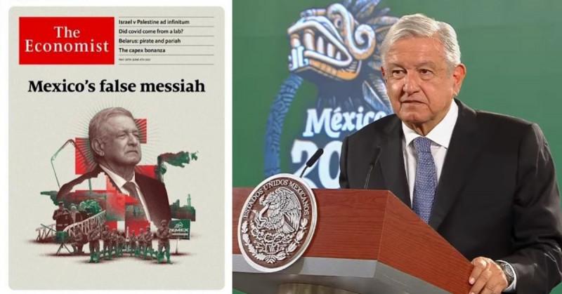 """""""Majadera"""", """"muy grosera"""" y """"mentirosa"""": así describió AMLO a la portada de The Economist"""