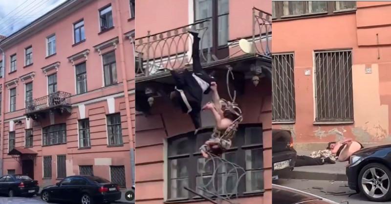 Pareja rusa pelea en su balcón, rompe el barandal y cae desde el tercer piso (video)