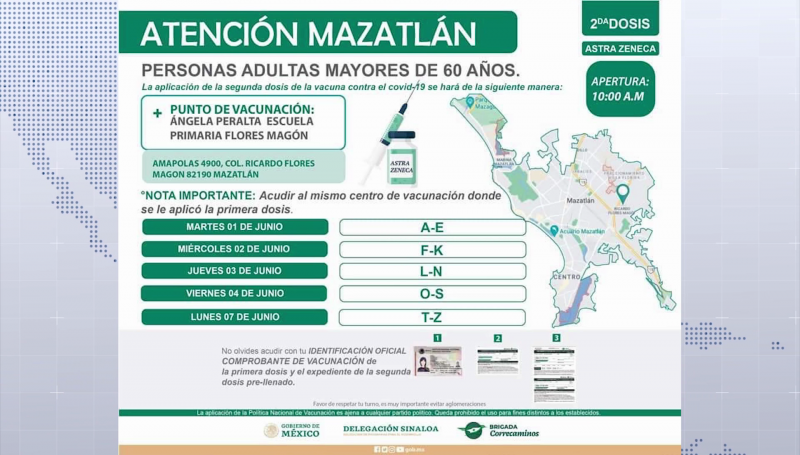 1 de junio inicia aplicación de segunda dosis a adultos mayores en Mazatlán