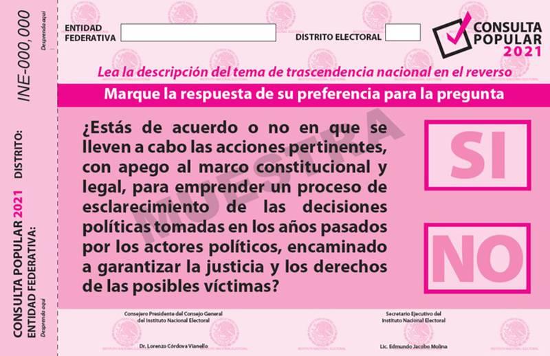 Autorizan diseño de papeleta para consulta sobre juicio a ex presidentes