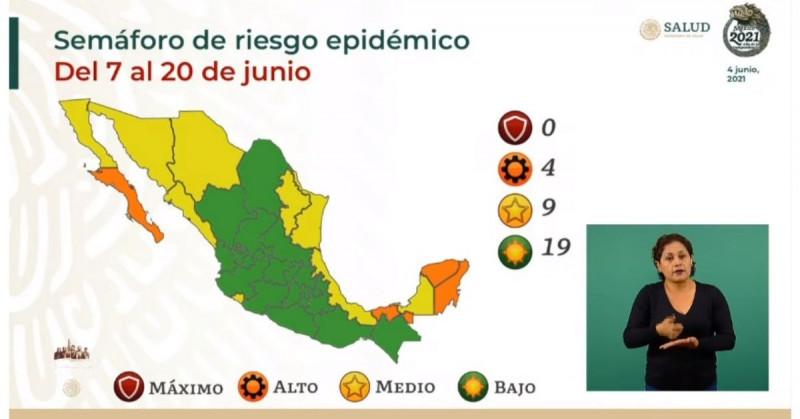Sinaloa y Sonora salen del verde y regresan a amarillo en el Semáforo de Riesgo Epidemiológico de Covid-19