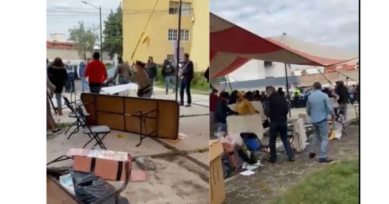 Grupo de sujetos destruyen esta casilla y se roban las boletas a la fuerza (video)
