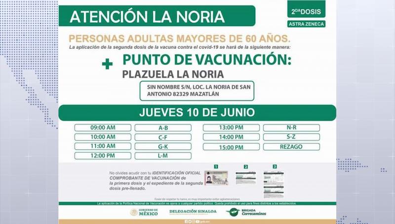9 de junio inicia vacunación a adultos mayores en zona rural de Mazatlán
