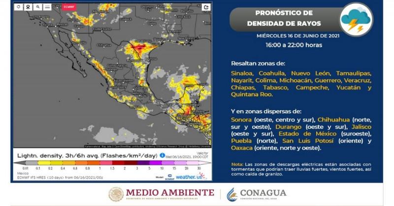 Pronostican lluvias y tormentas eléctricas para Sinaloa y Sonora la tarde-noche de este miércoles