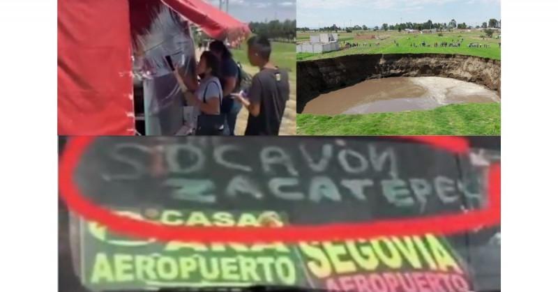 El socavón de Puebla se convirtió en un centro turístico que hasta vende elotes y micheladas (video)