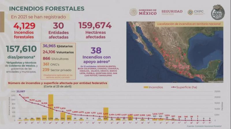 Hay 37 incendios forestales activos en México