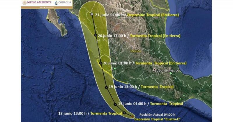 """Se forma depresión tropical """"4-E"""" y se espera que impacte en Sinaloa la tarde del domingo"""