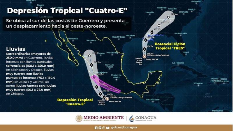 En alerta PC por Depresión Tropical 4-E