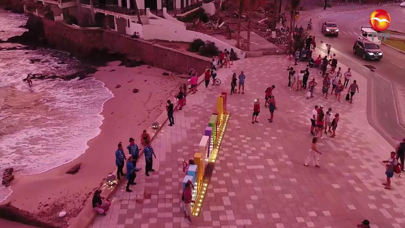 Drones concientizan sobre medidas sanitaria en zona turística