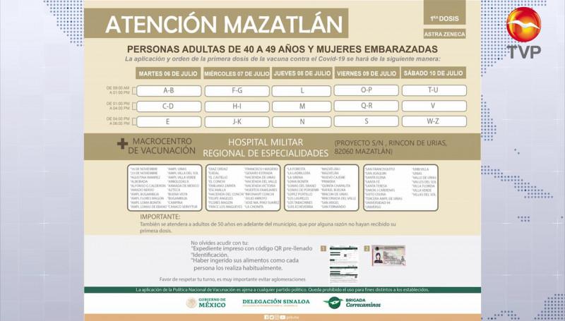 Éste martes inicia la vacunación a personas de 40 a 49 años en Mazatlán
