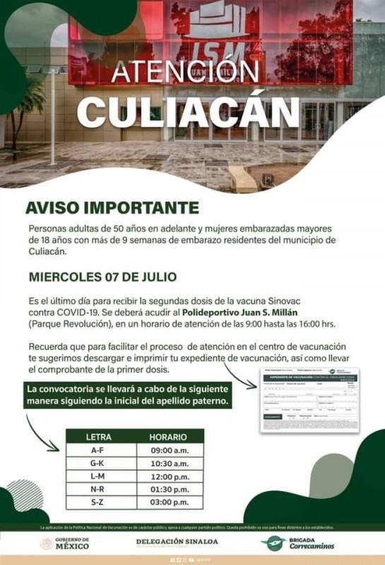 Último día para aplicación de la  vacuna SINOVAC en Culiacán