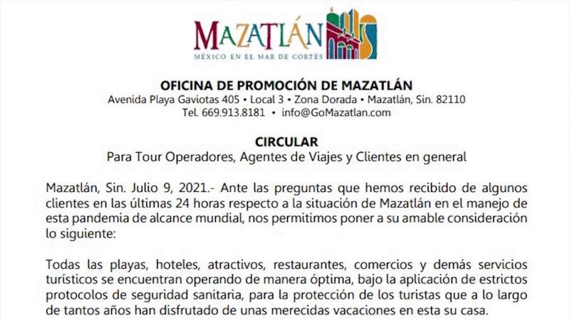 Oficina de promoción turística emite comunicado