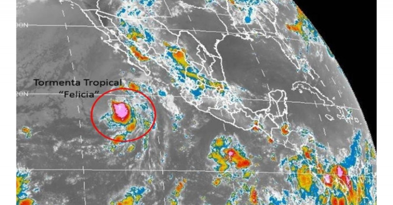 """Depresión tropical Seis-E se ha intensificado a la tormenta tropical """"Felicia"""" en el Pacífico"""
