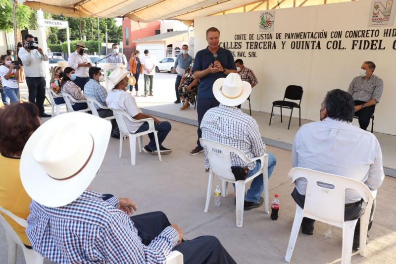 Inauguran  2 nuevas calles con pavimento hidráulico en Navolato