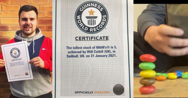 ¿Podrías romperlo? Hombre apila 5 M&M y ahora es dueño de ese Récord Mundial Guinness
