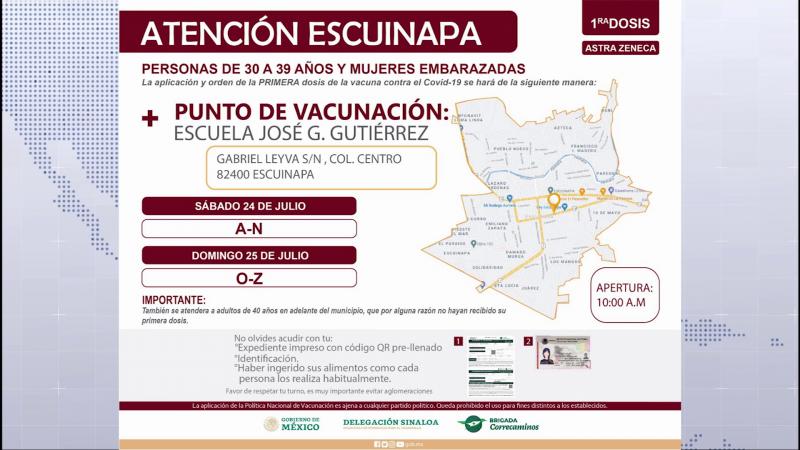 Éste lunes inicia la vacunación a personas de 30 a 39 años en Escuinapa