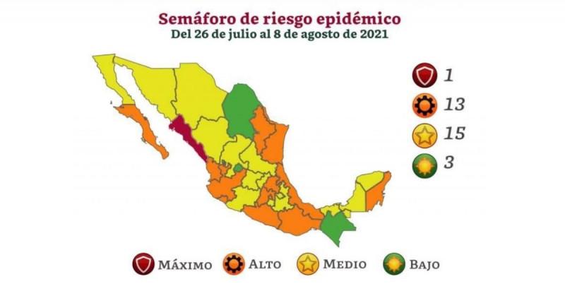 Sinaloa es el único estado en rojo en la actualización del Semáforo de Riesgo Covid-19