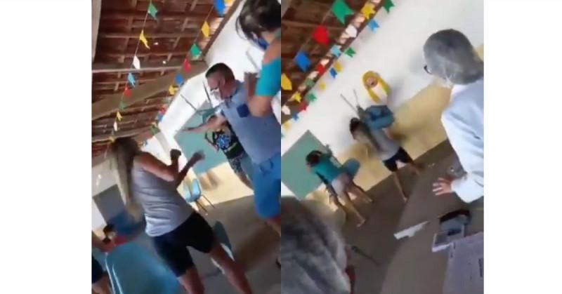 Hombre acompaña a su amante a vacunarse y se pelea con la esposa al encontrársela (video viral)