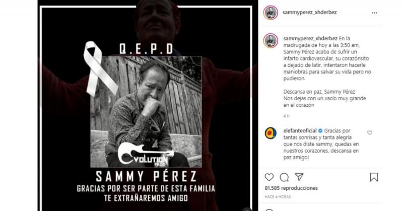 Muere Sammy a los 55 años víctima de un infarto por el Covid-19